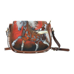 Awesome steampunk horse with wings Saddle Bag/Small (Model 1649) Full Customization