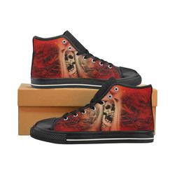 Creepy skulls on red background Men's Classic High Top Canvas Shoes (Model 017)