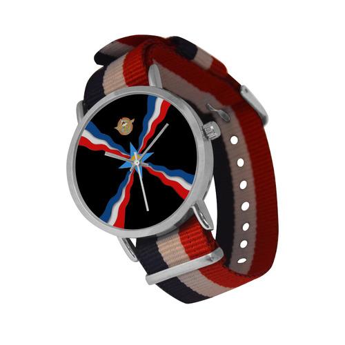 Assyrian Flag Wrist Watch Nylon Strap Watch (Model 215)