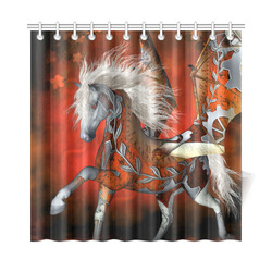 "Awesome steampunk horse with wings Shower Curtain 72""x72"""
