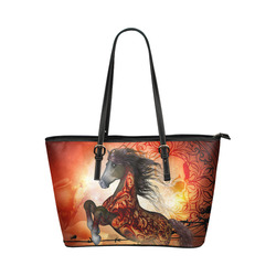 Awesome creepy horse with skulls Leather Tote Bag/Large (Model 1651)