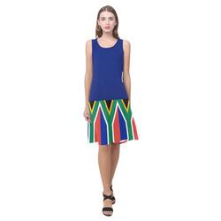 South African flag dress Sleeveless Splicing Shift Dress(Model D17)