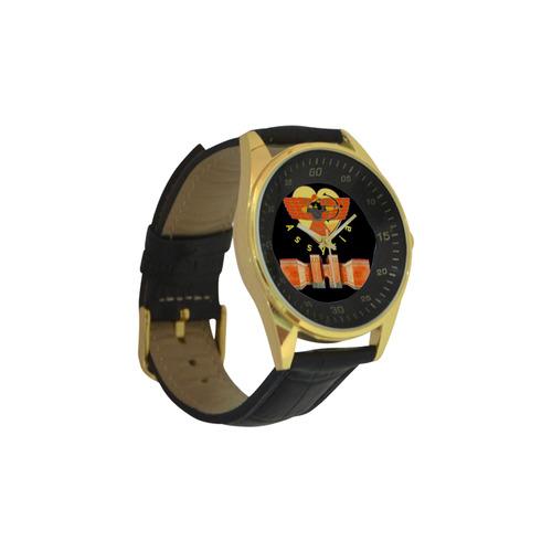 Alaha Ashur Watch Men's Golden Leather Strap Watch(Model 210)