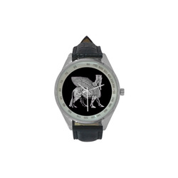 Silver Lamassu Wrist Watch Men's Leather Strap Analog Watch(Model 209)