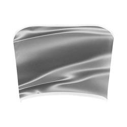 Metallic grey satin 3D texture Bandeau Top