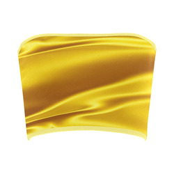 Honey yellow satin 3D texture Bandeau Top