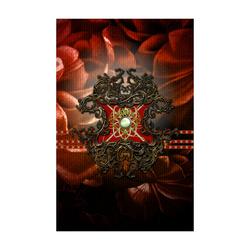 "Red floral design Poster 22""x34"""