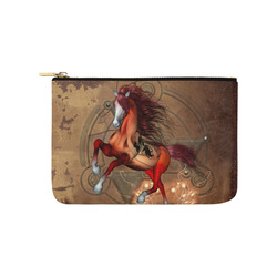 Wonderful horse with skull, red colors Carry-All Pouch 9.5''x6''