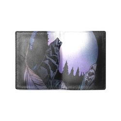 Howling Wolf Men's Leather Wallet (Model 1612)