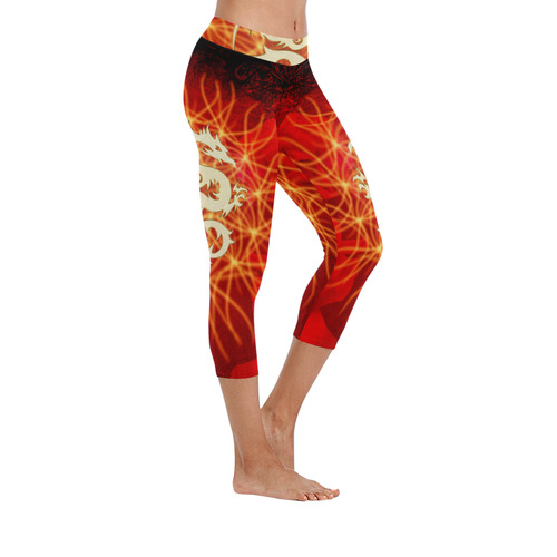 Awesome chinese dragon, gold Low Rise Capri Leggings (Invisible Stitch) (Model L08)