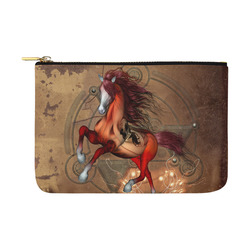 Wonderful horse with skull, red colors Carry-All Pouch 12.5''x8.5''