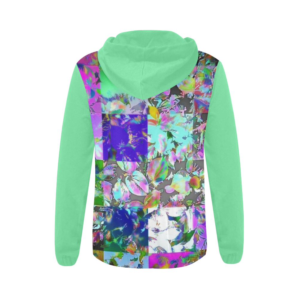 Foliage Patchwork #12 - Jera Nour All Over Print Full Zip Hoodie for Women (Model H14)