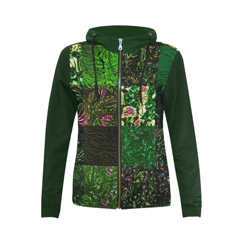 Foliage Patchwork #1 - Jera Nour All Over Print Full Zip Hoodie for Women (Model H14)