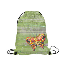 "Vegan Butterfly Love Life Large Drawstring Bag Model 1604 (Twin Sides)  16.5""(W) * 19.3""(H)"