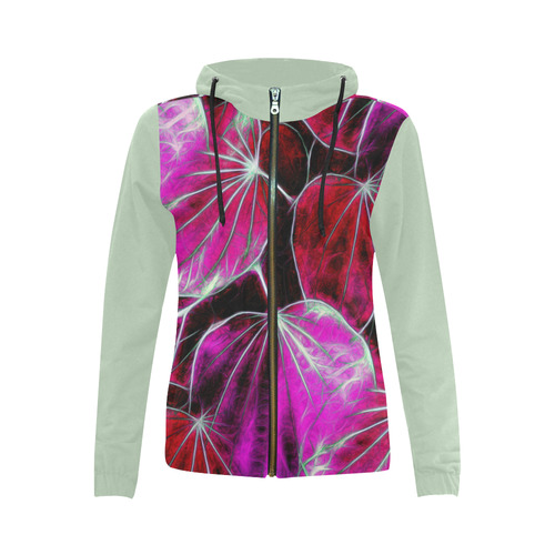 Foliage #9 - Jera Nour All Over Print Full Zip Hoodie for Women (Model H14)