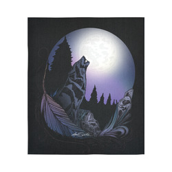 """Howling Wolf Cotton Linen Wall Tapestry 51""""x 60"""""""
