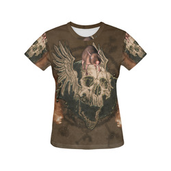 Awesome skull with rat All Over Print T-Shirt for Women (USA Size) (Model T40)
