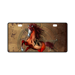 Wonderful horse with skull, red colors License Plate