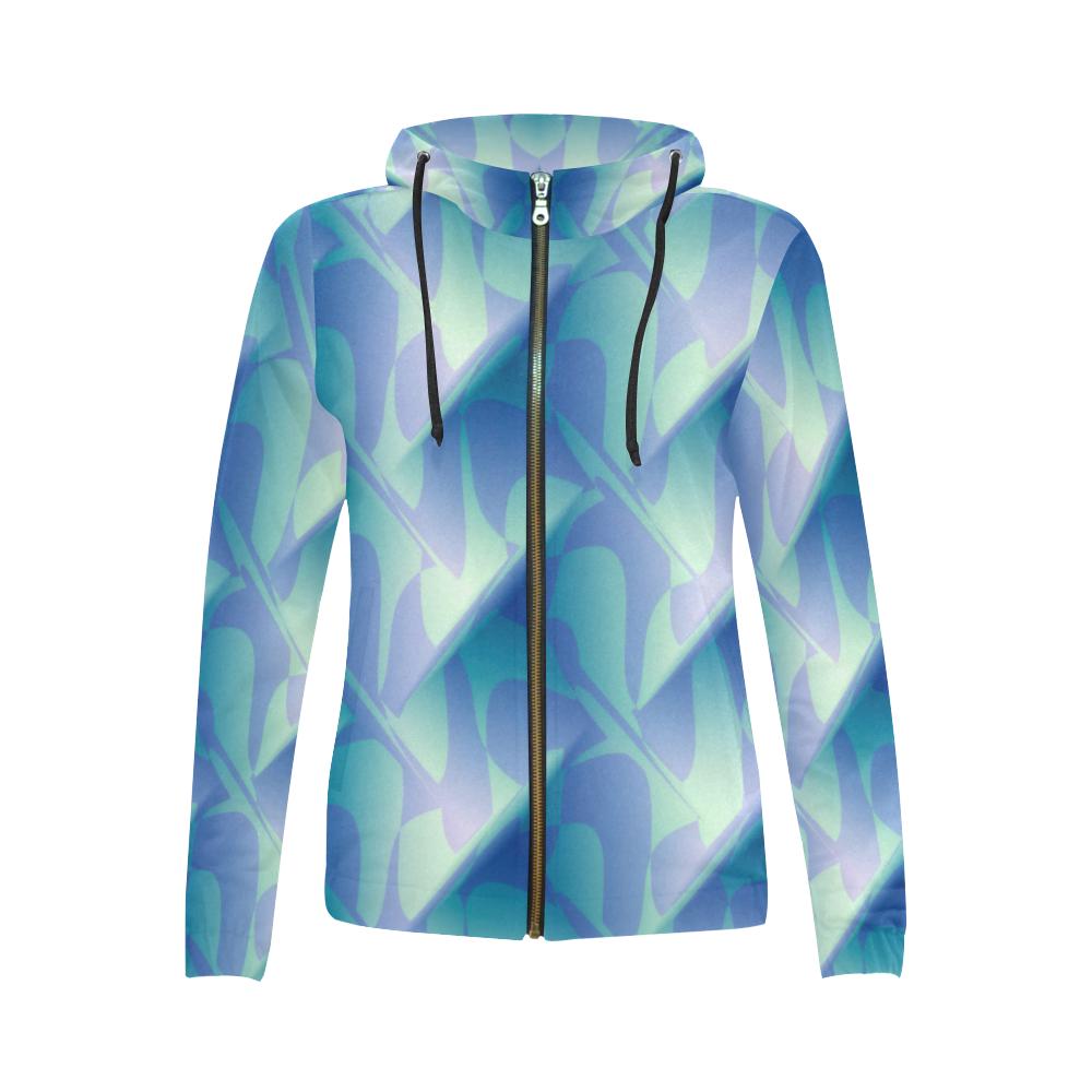 Subtle Blue Cubik - Jera Nour All Over Print Full Zip Hoodie for Women (Model H14)
