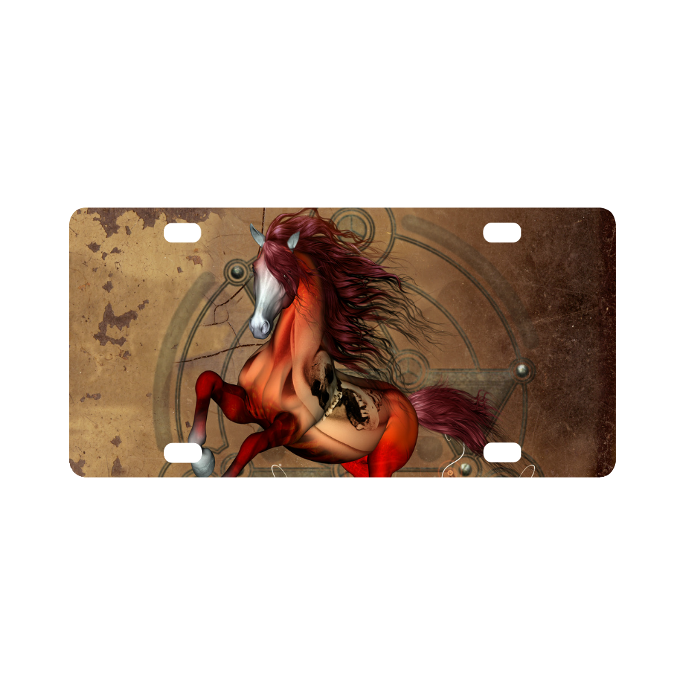 Wonderful horse with skull, red colors Classic License Plate