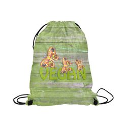 "Vegan Love Life Butterflies Large Drawstring Bag Model 1604 (Twin Sides)  16.5""(W) * 19.3""(H)"