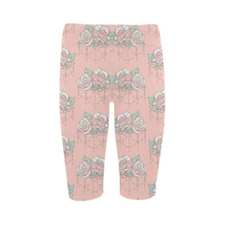 Roses And Pearls - salmon color Hestia Cropped Leggings (Model L03)