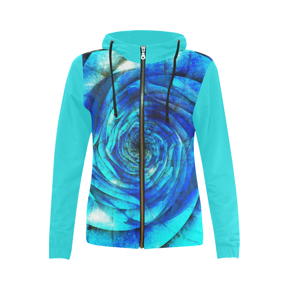 Galaxy Wormhole Spiral 3D - Jera Nour All Over Print Full Zip Hoodie for Women (Model H14)