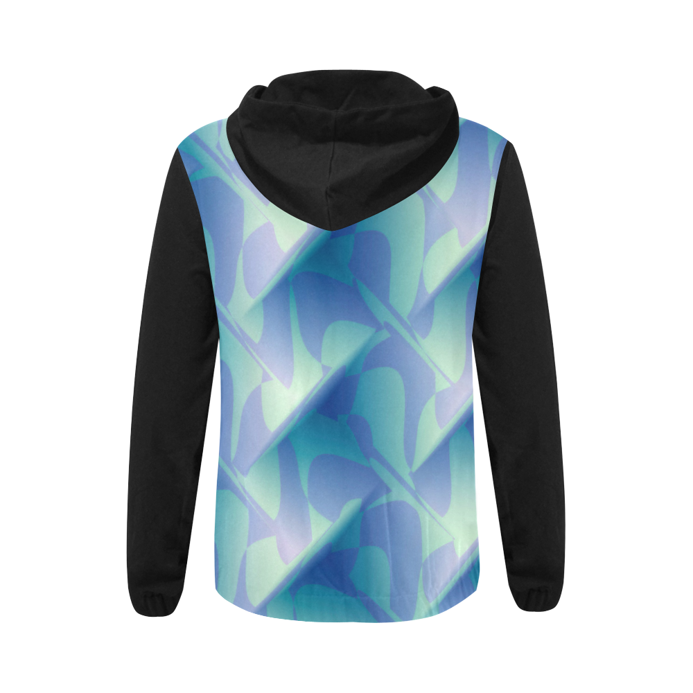 Subtle Blue Cubik - Jera Nour All Over Print Full Zip Hoodie for Women (Model H14)