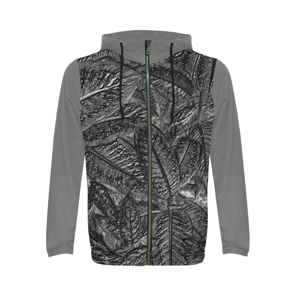 Steel Foliage - Jera Nour All Over Print Full Zip Hoodie for Men (Model H14)