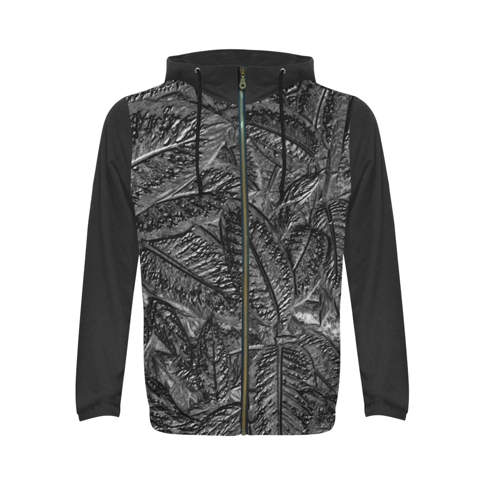 Steel Foliage - Jera Nour All Over Print Full Zip Hoodie for Men (Model H14)