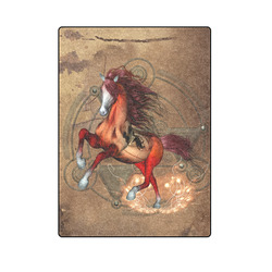 "Wonderful horse with skull, red colors Blanket 58""x80"""