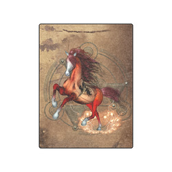 """Wonderful horse with skull, red colors Blanket 50""""x60"""""""