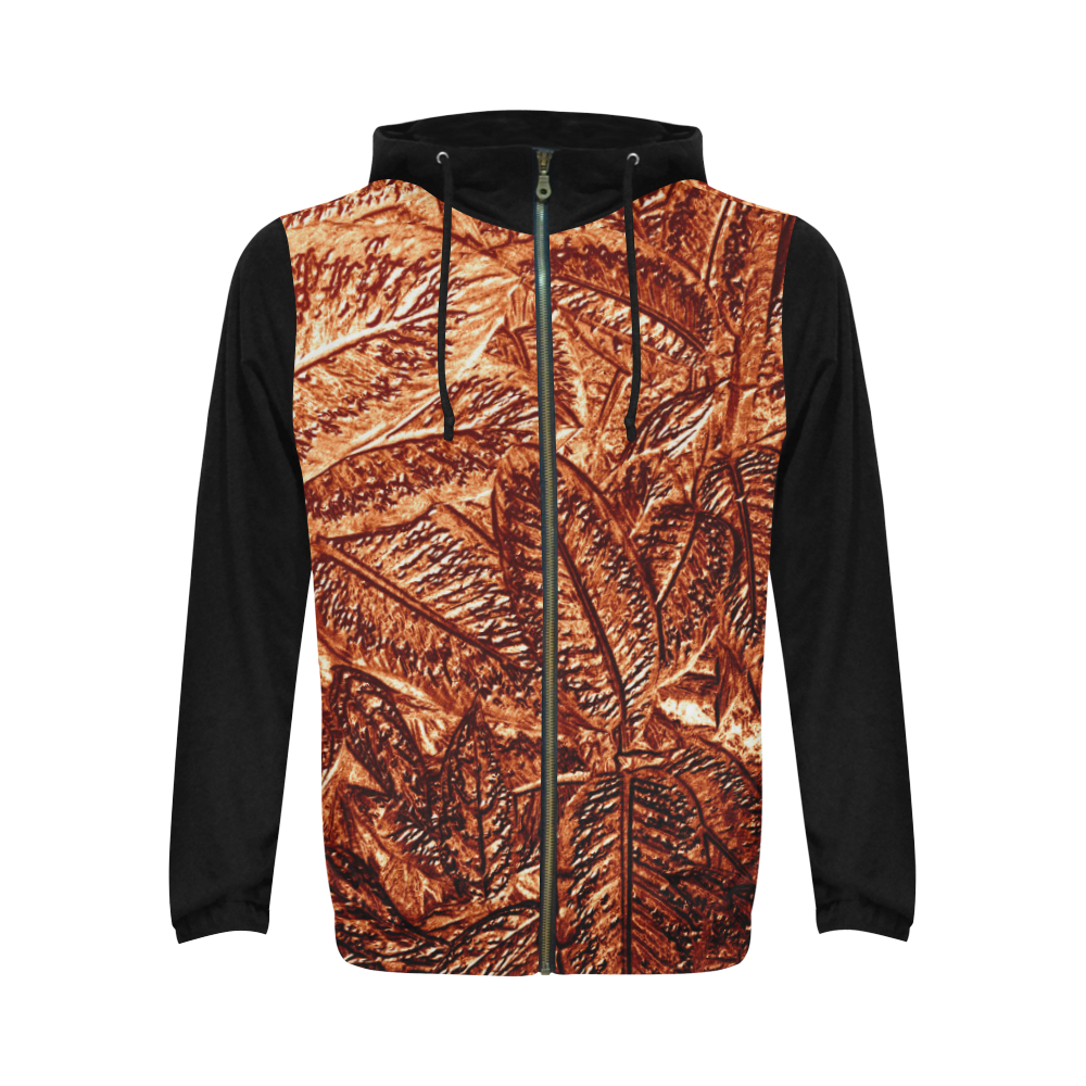 Copper Foliage - Jera Nour All Over Print Full Zip Hoodie for Men (Model H14)