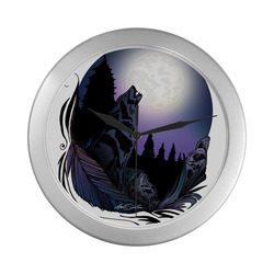 Howling Wolf Silver Color Wall Clock