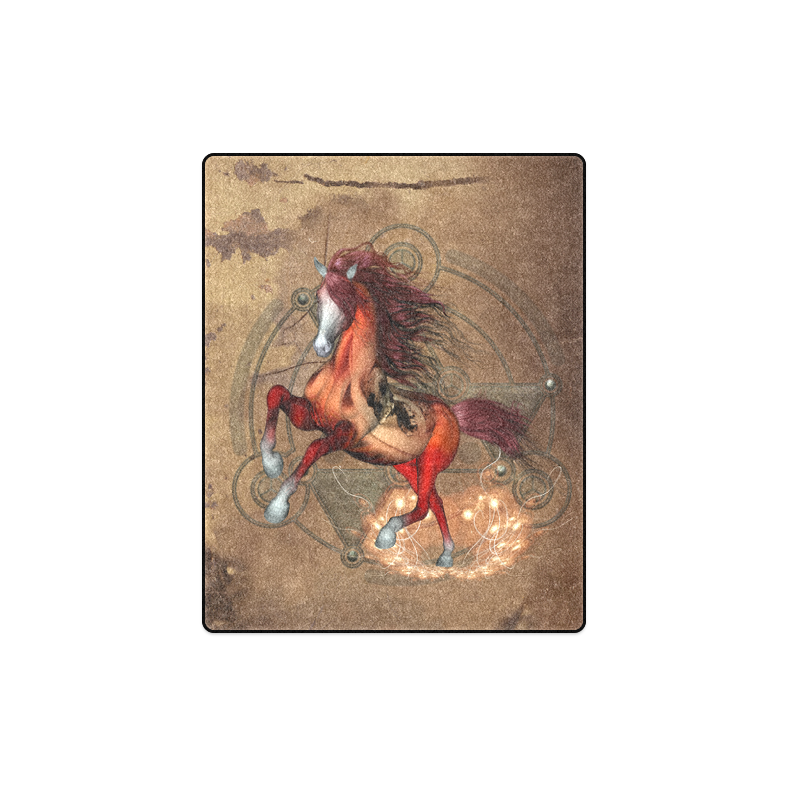 """Wonderful horse with skull, red colors Blanket 40""""x50"""""""