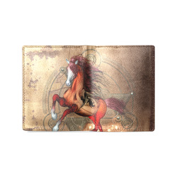 Wonderful horse with skull, red colors Men's Leather Wallet (Model 1612)
