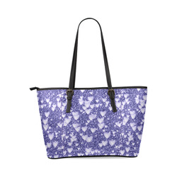 Hearts on Sparkling glitter print, blue Leather Tote Bag/Large (Model 1640)
