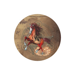 Wonderful horse with skull, red colors Round Mousepad