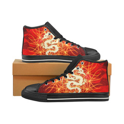 Awesome chinese dragon, gold Men's Classic High Top Canvas Shoes /Large Size (Model 017)