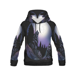 Howling Wolf All Over Print Hoodie for Women (USA Size) (Model H13)