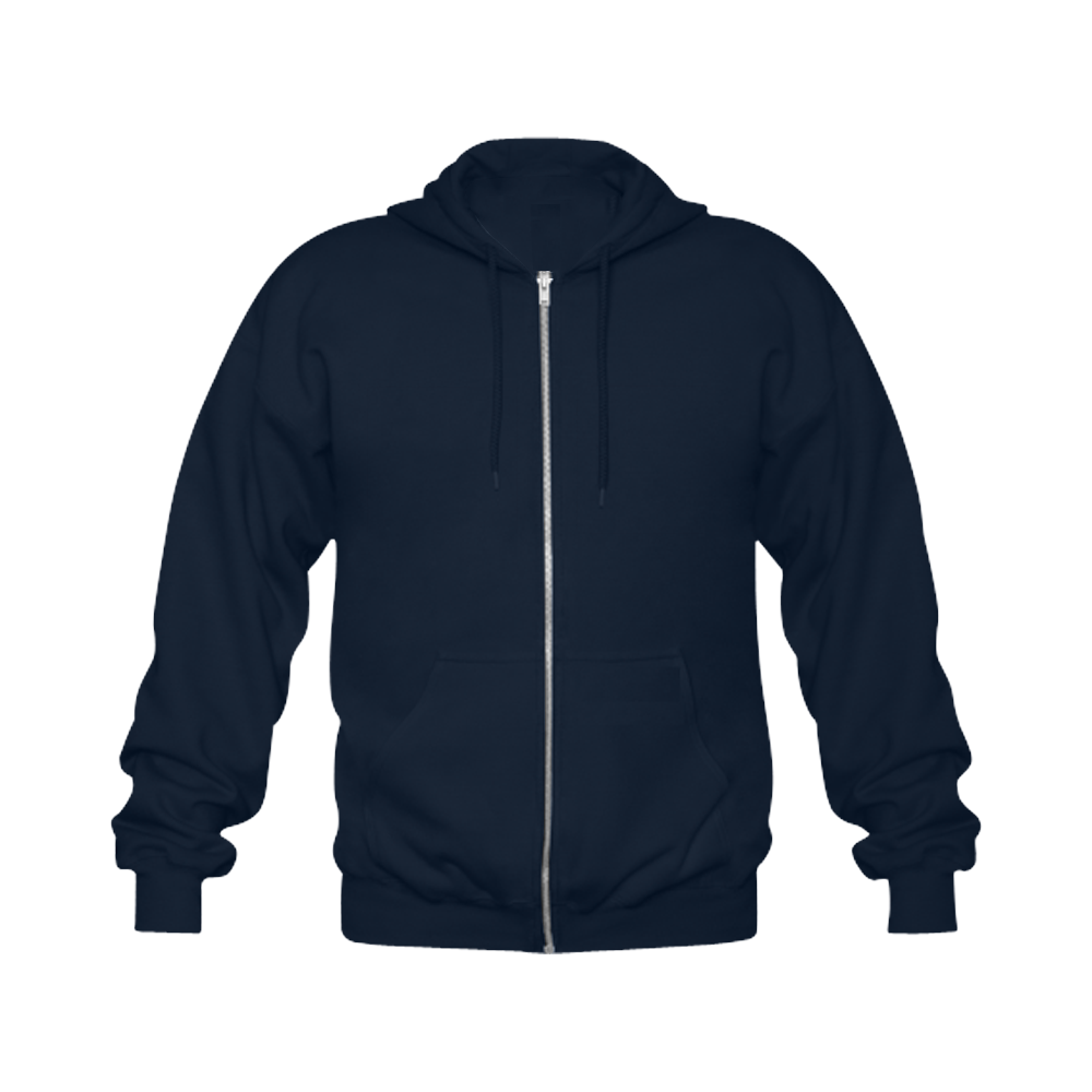 This My Color Dark Blue Gildan Full Zip Hooded Sweatshirt (Model H02)