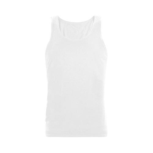 This My Color White Plus-size Men's Shoulder-Free Tank Top (Model T33)