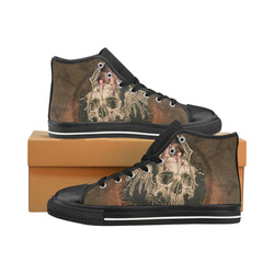 Awesome skull with rat Men's Classic High Top Canvas Shoes /Large Size (Model 017)