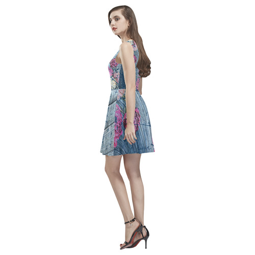 Shabby chic with painted peonies Thea Sleeveless Skater Dress(Model D19)