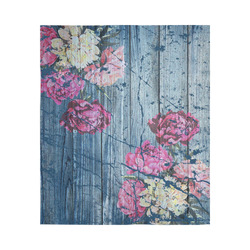 """Shabby chic with painted peonies Cotton Linen Wall Tapestry 51""""x 60"""""""