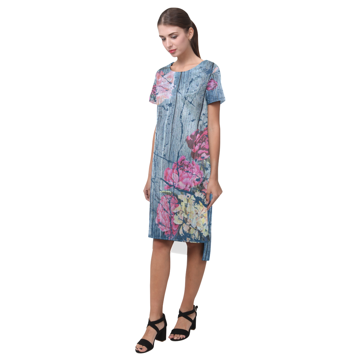 Shabby chic with painted peonies Short Sleeves Casual Dress(Model D14)