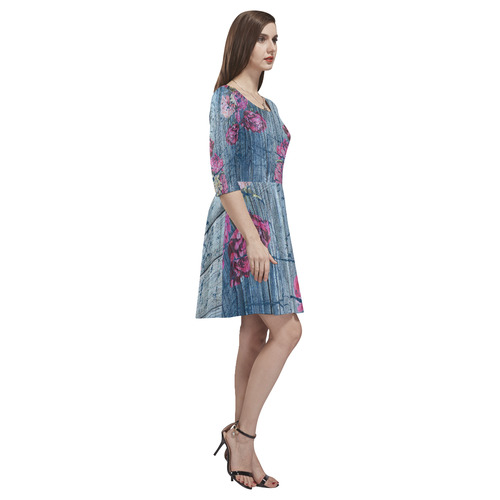 Shabby chic with painted peonies Tethys Half-Sleeve Skater Dress(Model D20)