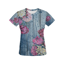 Shabby chic with painted peonies All Over Print T-Shirt for Women (USA Size) (Model T40)