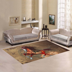 Wonderful horse with skull, red colors Area Rug7'x5'