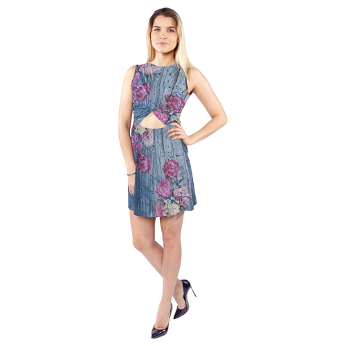 Shabby chic with painted peonies Sleeveless Cutout Waist Knotted Dress (Model D39)